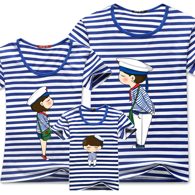 2016 Family Matching Clothes Blue Stripe Quality Couple T Shirt Cartoon Female Male 4xl Summer Short