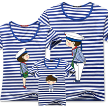 2016 Family Matching Clothes Blue Stripe Quality Couple T Shirt Cartoon Female Male 4xl Summer Short Sleeves Dad Mom T-Shirts