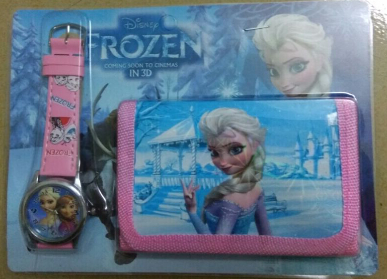 Free&Drop Shipping 1pcs New anna elsa cartoon Kids Childrens Girls Quartz Casual Wrist Watches with wallet ,purse watch