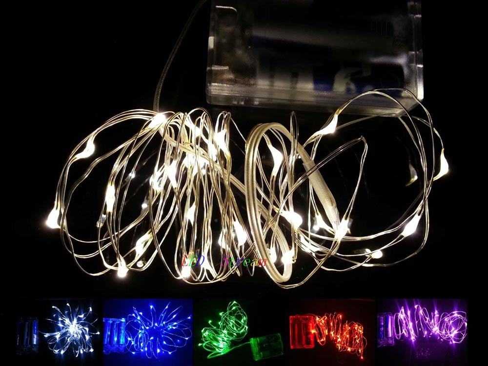 Battery Powered Waterproof 2M 20leds Mini LED Silver Wire Fairy String Lights