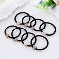 Promotion Gift Black High Elastic Hair Band Bow Star Mk Heart Alloy Connector Women Hair Rings