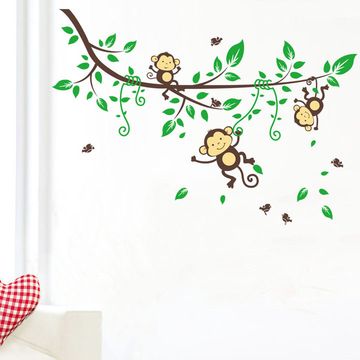 Three Cute Monkey Play On The Tree Craft Wall Sticker Decal Vinyl Stickers Home Decor Art Wall Sticker Mural CT003