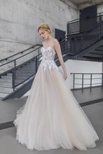 New Arrival 2016 Sexy Strapless A Line Wedding Dress Backless Applique Bow Floor Length Vestido de novia Bridal Gown YX192