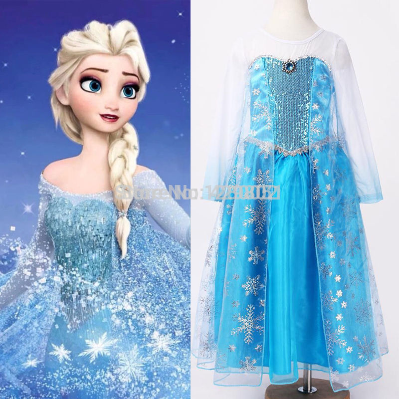New 2015 hot sale child s baby Girl s Snow Princess Queen Elsa Anna Cosplay Costume