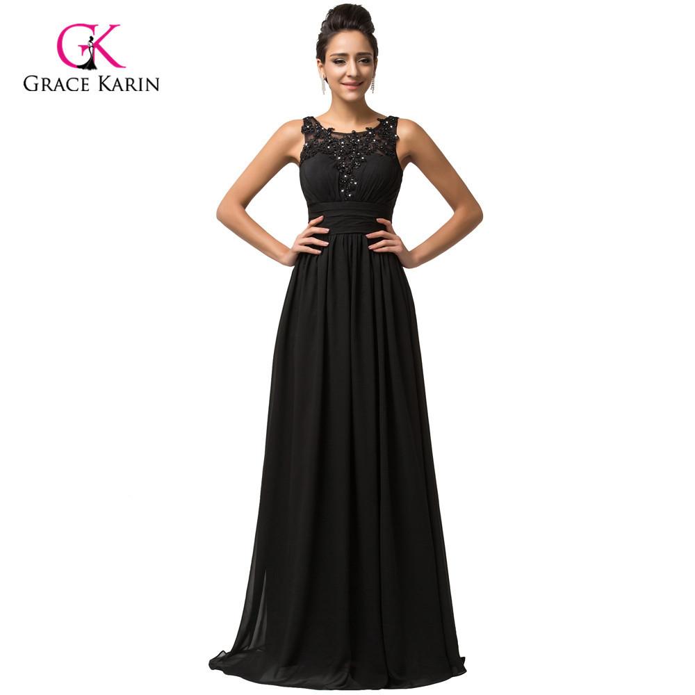 Discount Designer Evening Dresses: Grace Karin Backless Black Cheap Long Evening Dresses 2016