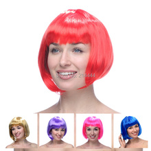 Free Shipping-new arrival! Carnival /Christmas/Halloween party wigs synthetic hair ladies' wigs cheap bobo wigs 14 colors