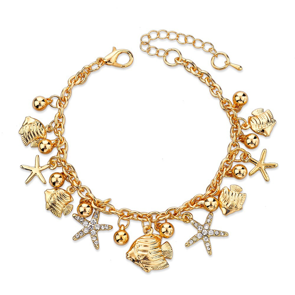 Gold Charm Bracelets: Women's Fashion 2016 Starfish Bracelet For Women Jewelry