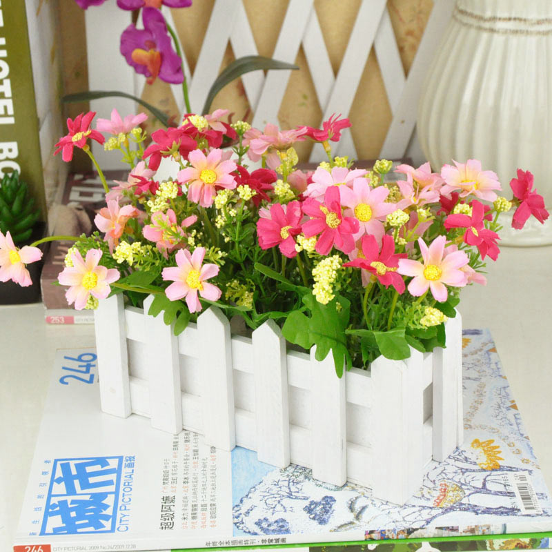 Free Shipping Rustic Artificial Flower Decoration Vanilla Daisy White Wood Fence Set Home Flowers And