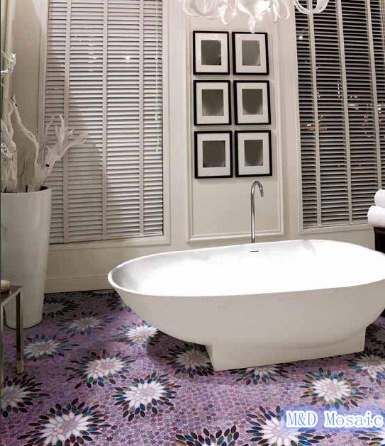 Mosaic Glaze Crystal Mosaic Purple Flower Floor Wall Tile