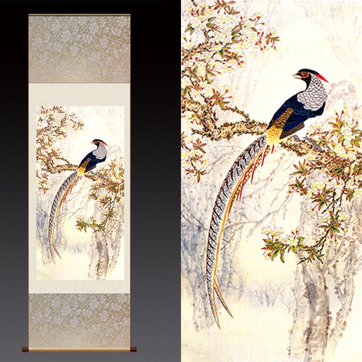 Modern Home Decorations Painting Silk Wall Art Print, Flower Bird Contemporary Art Impressionist Paintings Living Room Decor