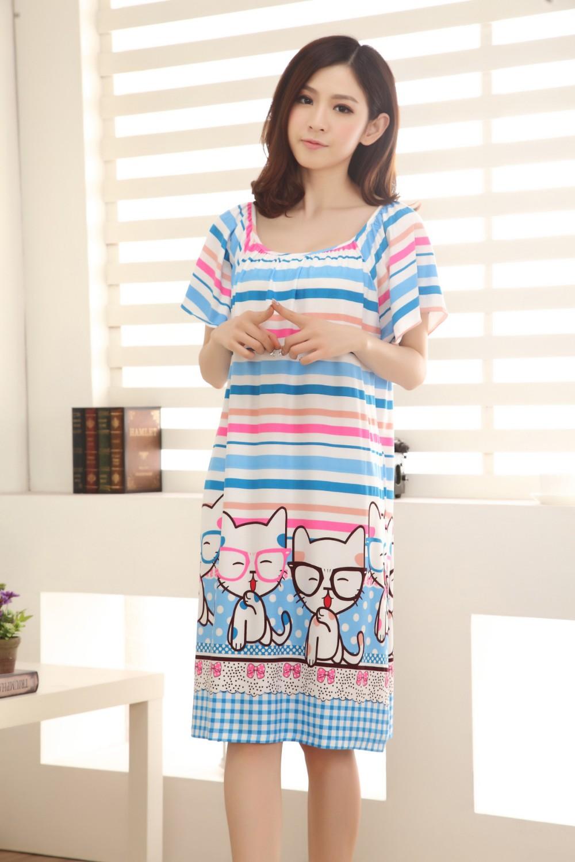 Wholesale- Summer Loose Large Size Nightgowns For Women Long Cartoon Girls  Nightwear Nightdress Cotton And Silk Sleepshirt XXL E0005 5b175aef1