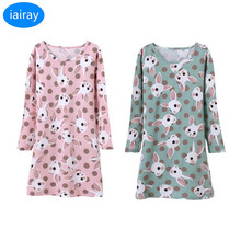 Iairay пижамы для девочек Детская Ночная рубашка пижамы милый рисунок с  кроликами Длинные рукава спальный 8d4997ac1c825