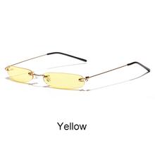 6e216e4bca TWO Oclock 90s Mini Sunglasses Women Small Oval Rimless Tinted Yellow Lens  Glasses Ladies Vintage Eyeglass
