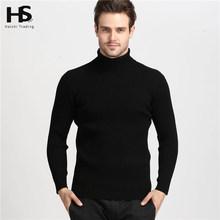 2015 Winter Thick Warm 100% Cashmere Sweater Men Turtleneck Men Brand Mens Sweaters Slim Fit Pullover Men Knitwear Double collar