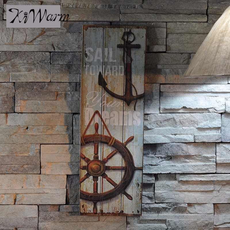 Vintage Nautical <font><b>Decor</b></font> <font><b>Rustic</b></font> Wooden Sign Plaque Wall Art Picture Lighthouse Design Anchor for <font><b>Home</b></font> Decoration Wood Crafts