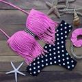 Pink Tassel Bikini Women 2016 Beach Biquini Brazilian Bikinis Women Retro Swimsuit Padded Bra Dot Swimwear