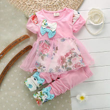 Summer 2015 Baby Girls Kid Lace Bowknot shirts Tops Dress Clothes Pants Outfit