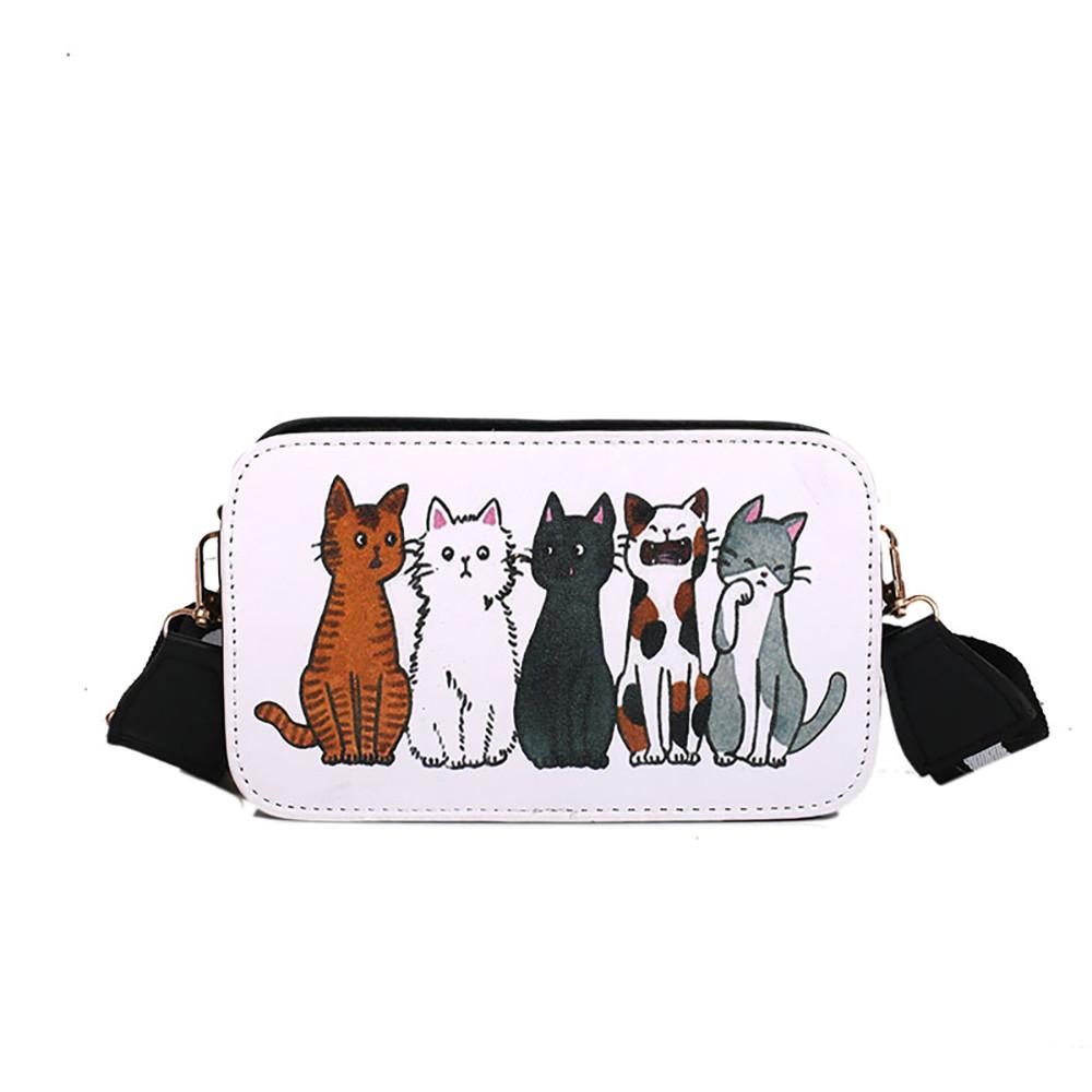 Женская сумка с кошками, маленькая квадратная сумка через плечо с диагональным поперечным граффити, Женская Повседневная сумка через плечо...(Китай)