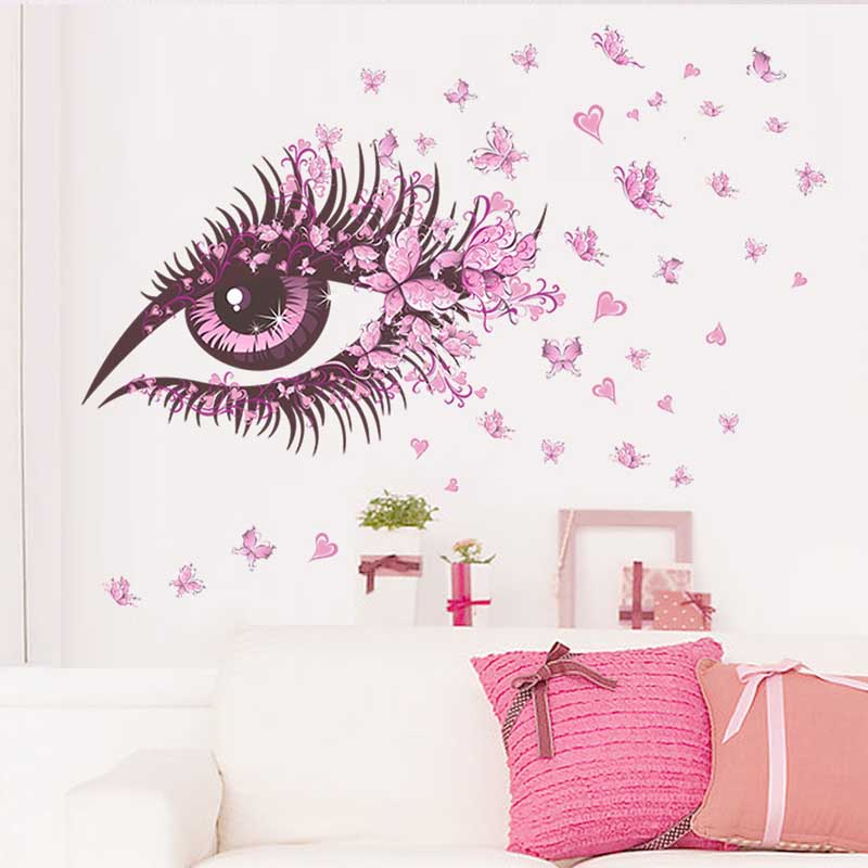 Sexy Eyes <font><b>Elegant</b></font> Flower Butterfly Wall Stickers DIY Girls Living Room TV/Sofa Background <font><b>Home</b></font> <font><b>Decor</b></font> Mural Decal