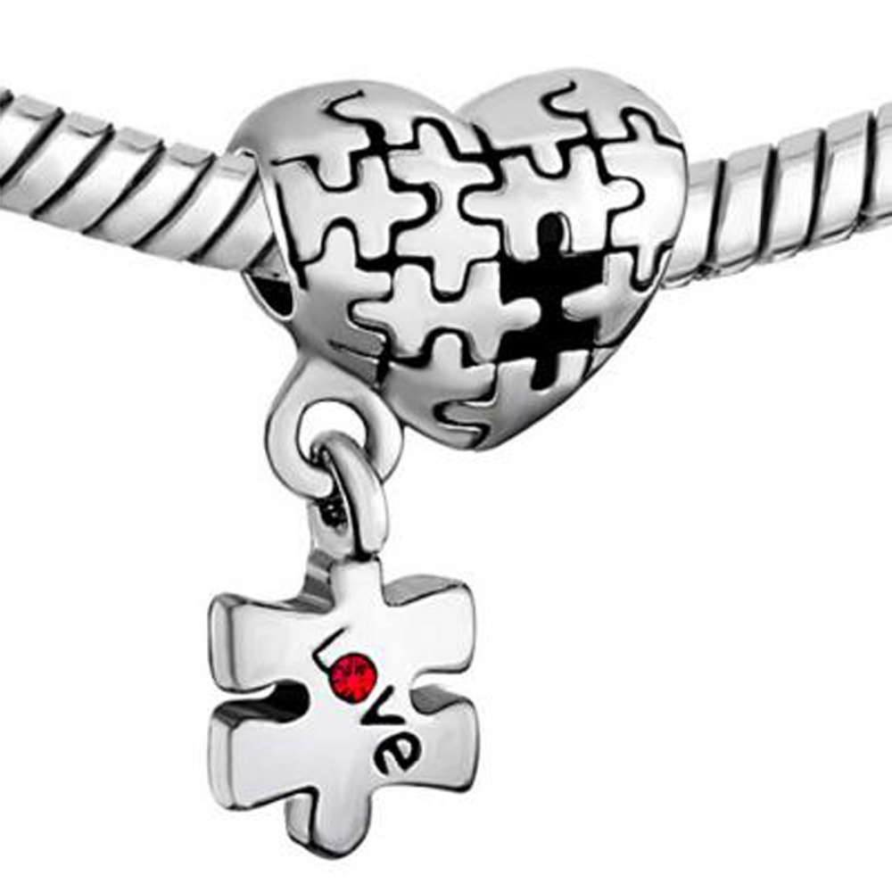Autism Charms For Pandora Bracelets: Free Shipping Autism Awareness Heart Love Red