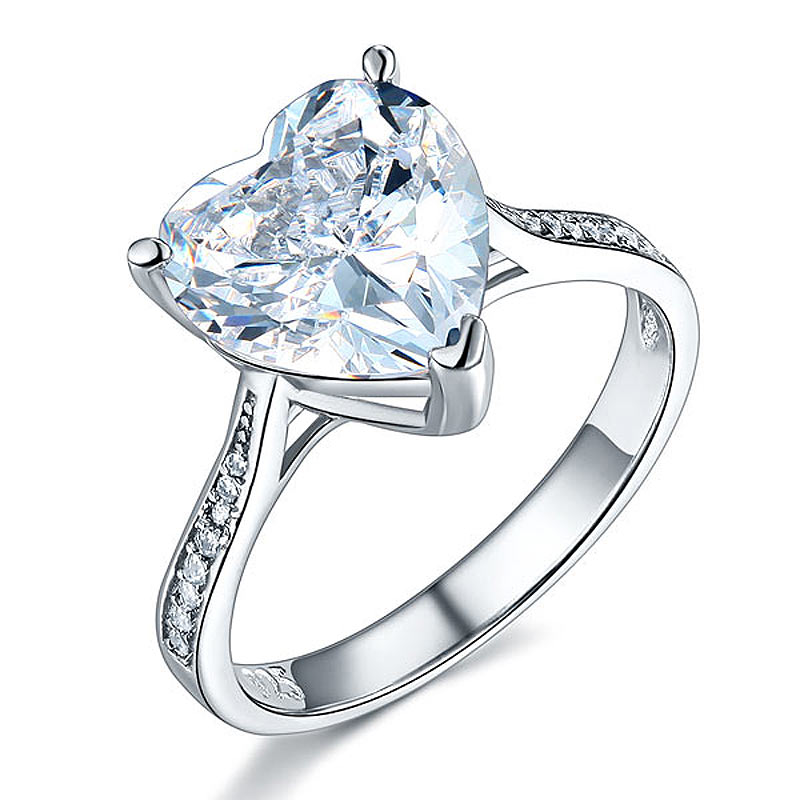 Solid 925 Sterling Silver Bridal Engagement Ring 3.5 Carat