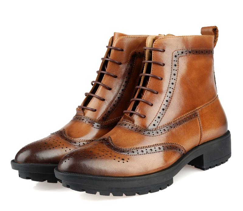 2015 Winter Luxury Designer Mens Leather Boots Round Toe