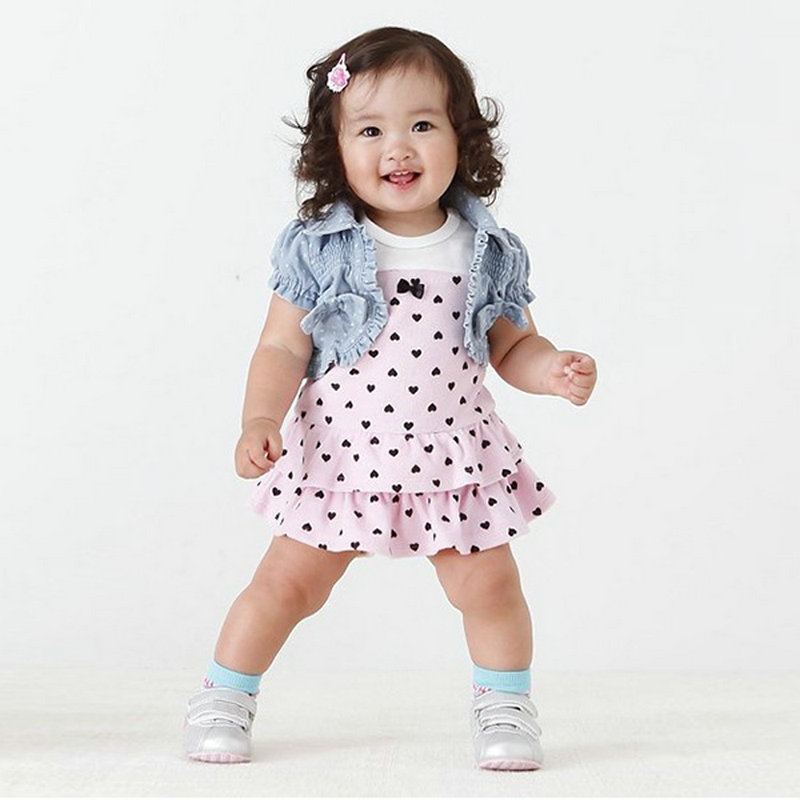 Baby Kids Girls Hearts Set Dress Bow Denim Jean Coat Outfits Costume 2 pieces Set roupas
