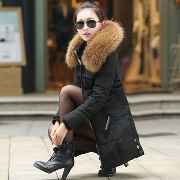 Зима куртка длинная, женщины утолщаются приталенный женское мех воротник пальто свободного покроя парка женщины 4XL QY1056