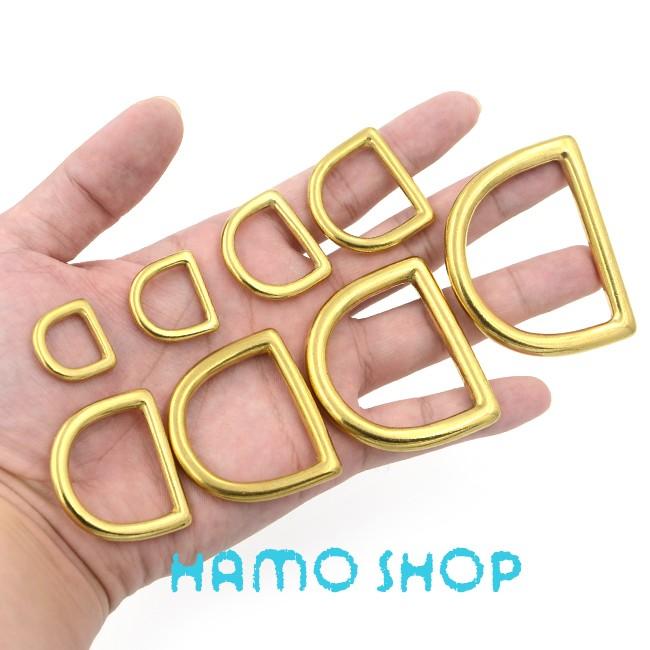 d9e83ebf215f30 5pcs 20mm Metal D Rings Buckle Seamless Brass Hook Loop Strap Webbing  Shackle Backpack - us522