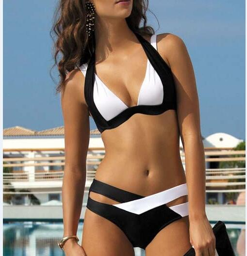 New Summer Sexy Patchwork Bikini Woman Swimsuit 2016 Bandage Swimwear Best Soft Swimsuits Bathing Suit Black