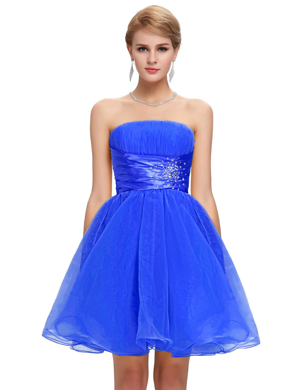 Royal Blue short prom dresses 2016 Grace Karin strapless ...