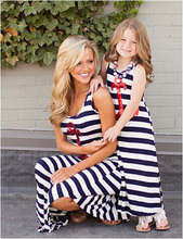 Summer Style Mom Girl baby Family fitted Navy style Sleeveless Casual Skirt the ankle Blue Striped