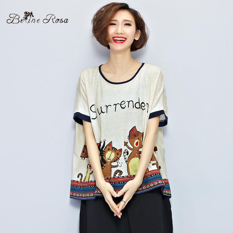 8efcfc32f0 2016 Women's Cute Tee Shirt Plus Size One Size Light Cotton Cat ...