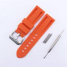 Роскошный ремешок с водонепроницаемым силиконовым ремешком 24 мм для Panerai PAM243 441 111 Часы с резиновым ремнем аксессуары мужские женские ремень(Китай)