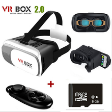 Google cardboard VR BOX 2.0 Version 3D Glasses + bluetooth remote controller gamepad + 8G Microsd with 3D movies and games 1009