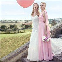 Женское шифоновое платье-трапеция Beauty-Emily, длинное платье для подружки невесты, платье для выпускного вечера, 2019(Китай)