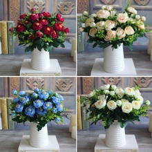 New Multi Color Realistic 6 Branches Spring Artificial Fake Peony Flower Arrangement Home Table Room Hydrangea Decor
