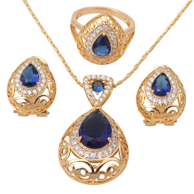 Heart Blue Topaz 18K Gold Plated Zirconia Health Nickel Lead free Earring Necklace Ring sz 7