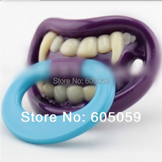 SGS certificate Eco Friendly ABS Silicon Vampire Purple Funny baby pacifier for kids Kids Toys drop