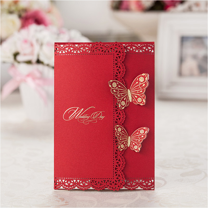 Double Butterfly Wedding Invitations 2016 Elegant Laser