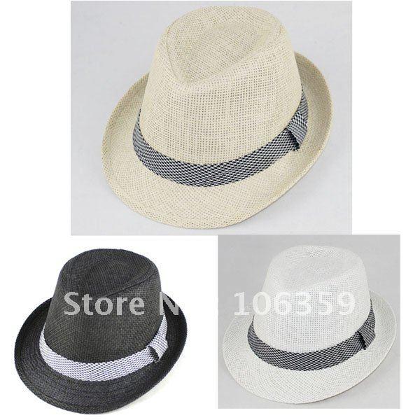 Plain-Color-Baby-Straw-Fedora-Hat-Jazz-Cap-Children-Summer