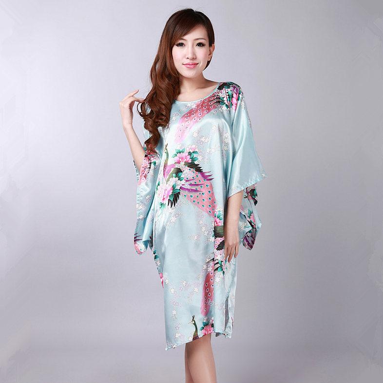 Специальное предложение светло-синий китайских женщин банный халат свободного покроя широкий лето район платье юката ночная рубашка один размер лас-мухерес Pijama S0105
