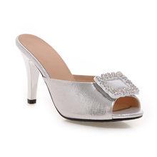 Женские босоножки с открытым носком Meotina, летние вечерние туфли на высоком каблуке, украшенные кристаллами, серебристого цвета, большие раз...(Китай)