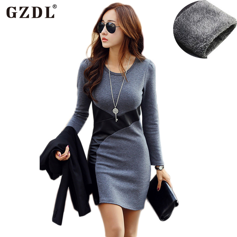 Plus Size Women Autumn Winter Dress Long Sleeve PU Leather Bodycon Pencil Casual Party Cocktail Mini