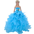 E TING Handmade Dolls Clothes Blue Lace Wedding Dress Party Gown For Barbie Dolls S