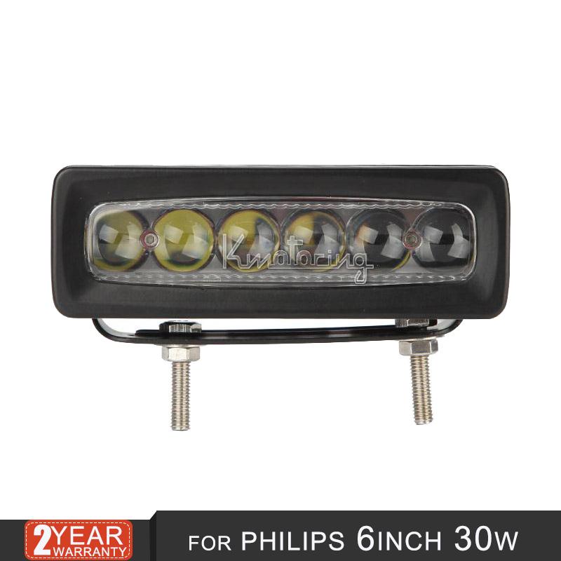Для Philips 6 дюймов 30 Вт из светодиодов светлая полоса 4D лен offroad пятно луча для авто кузов лодка 4 x 4 внедорожник ATV автомобиль мотоцикл дальнего