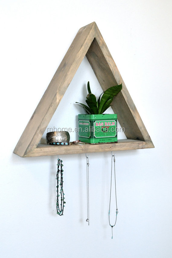 chic triangle wooden wall diy storage shelf with hooks, View diy ...