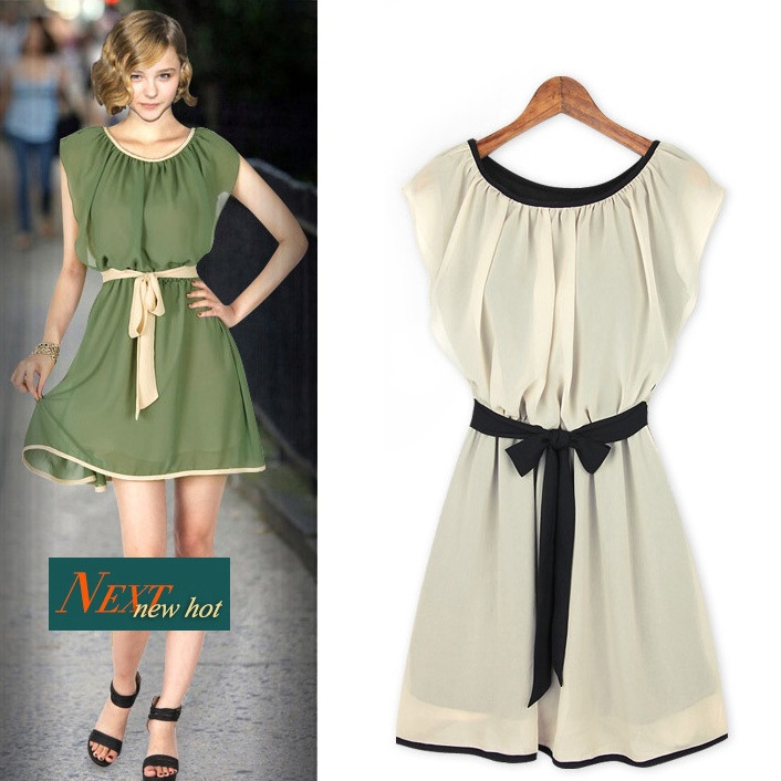 8b535c0fe8c Romantic Green Women Chiffon Dress for summer Holiday