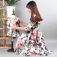 High quality fashion rose fashion family parent child one piece dress female child fashion dress and