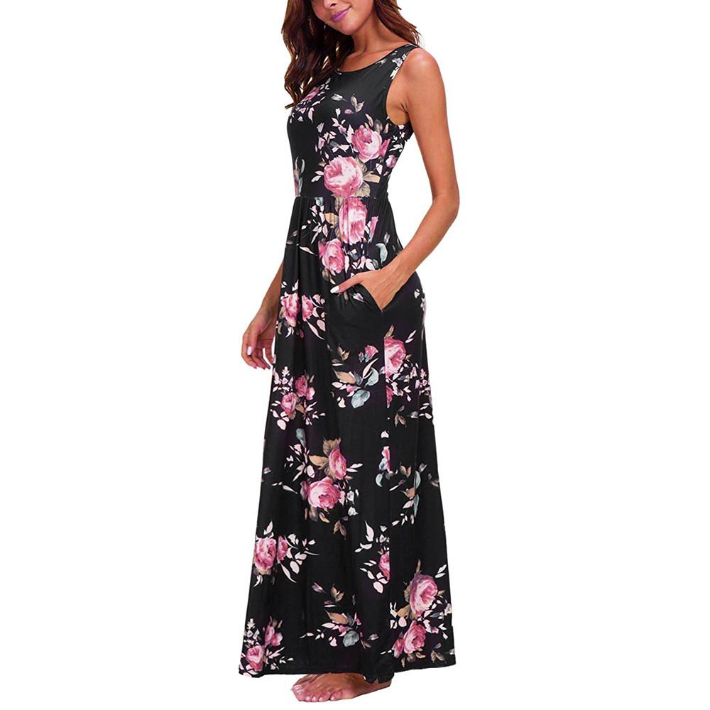 d8e2e7b08e4 С круглым вырезом летние пляжные платья сарафаны Винтаж богемное платье  Макси женское платье Бохо цветочный Для женщин карман Длинные платья Vestido